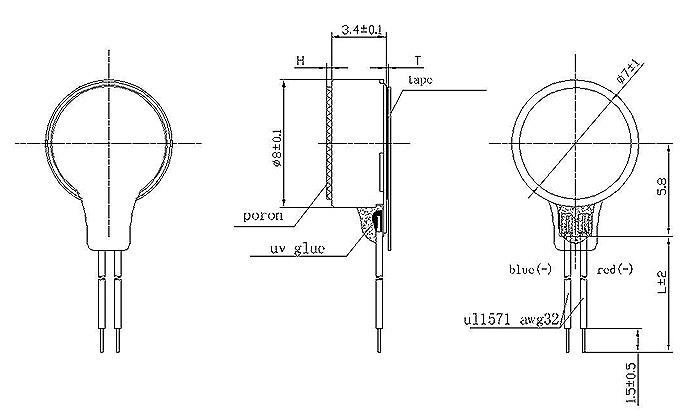 0834 coin vibration motor drawing