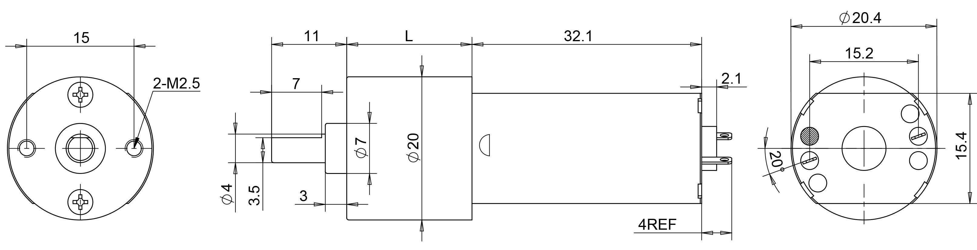 drawing of gear motor