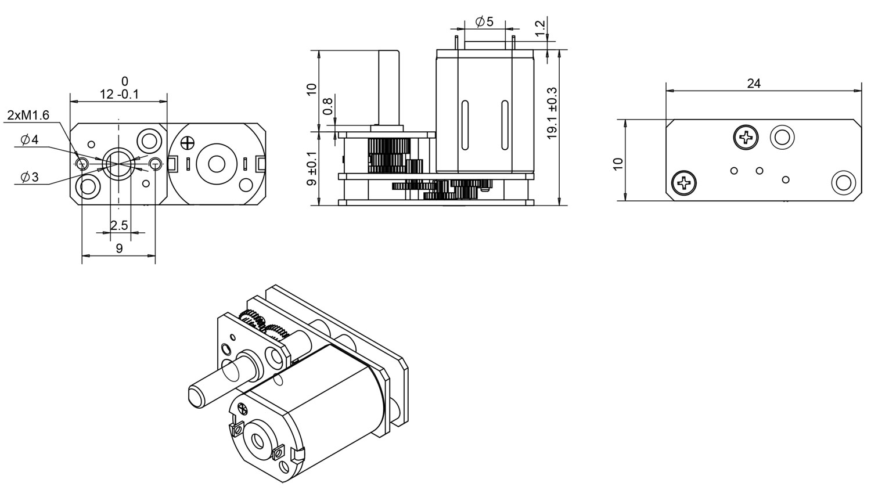 GM24-N20VA 24mm dc gear motor