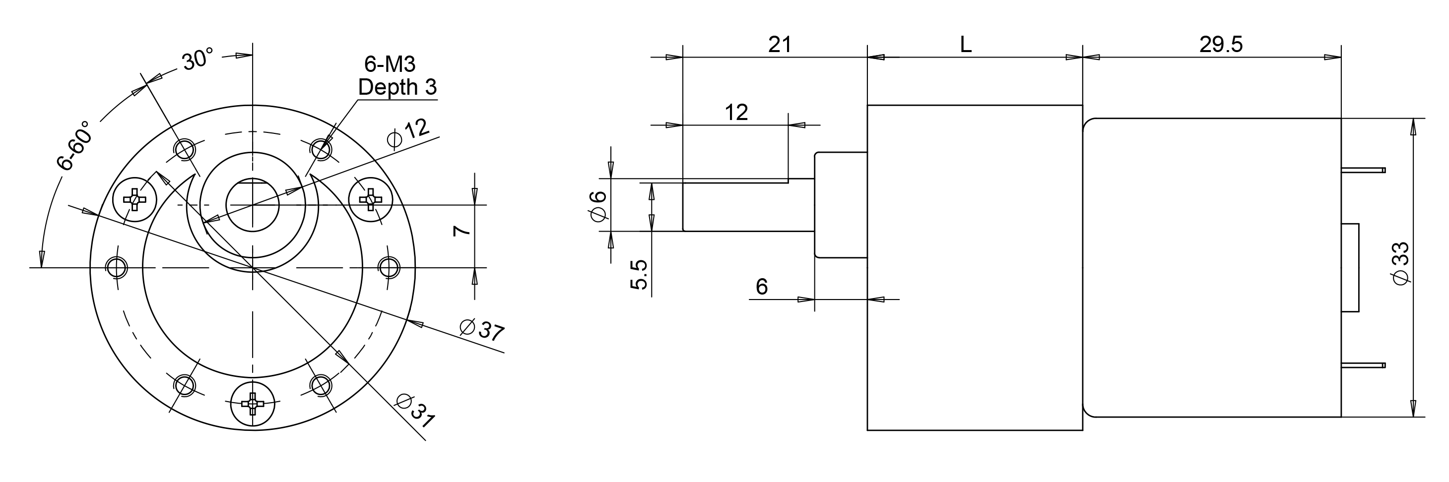 drawing of reduction motor