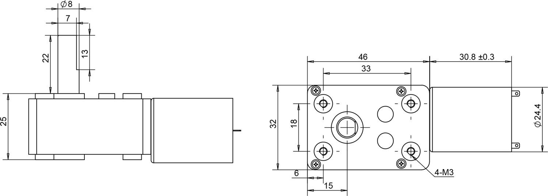 worm dc gear motor 32×46