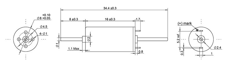12V Micro coreless dc motor 8mm diameter