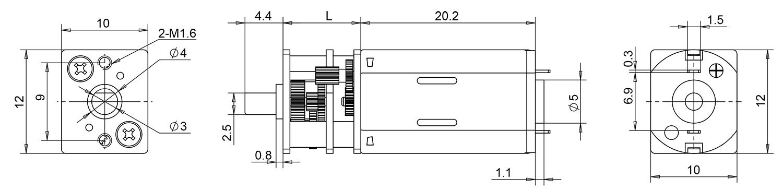 Micro metal gearmotor dimensions