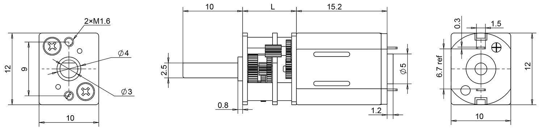 N20 gear motor dimensions