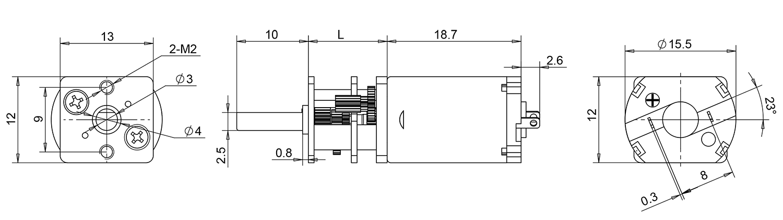 miniature gear motor dimensions
