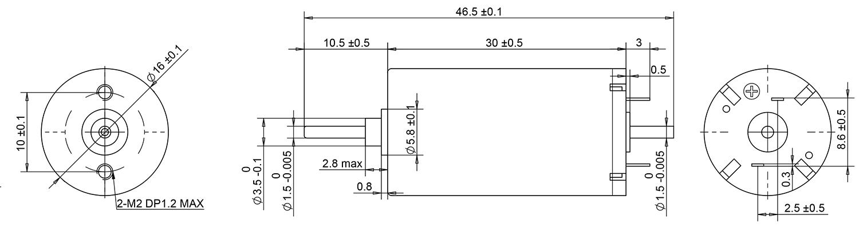 16mm coreless motor