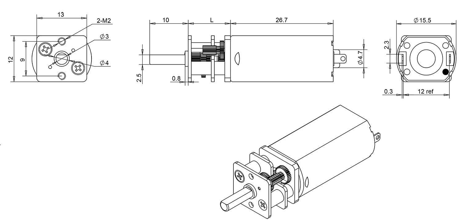 small gear motor drawing